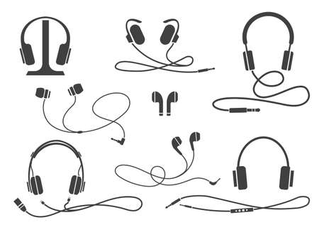 Entertainment earphones equipment. Various headphone types icons, wireless and headset, portable and buds vector illustration