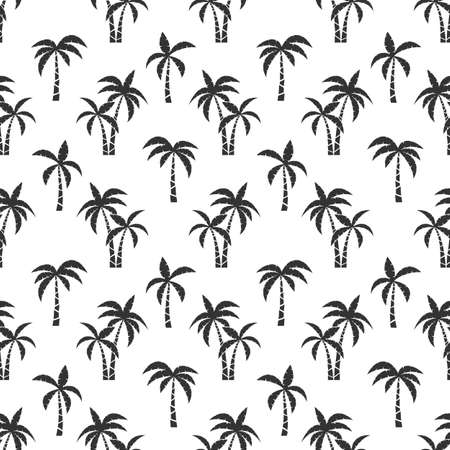Palm trees black seamless pattern. Silhouette of tropical palmtree on beach for fabric print and swimwear textil, vector illustration tropic texture for travel brochure