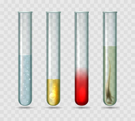 Medical lab test tubes. Testing tube set vector illustration with liquid water and blood samples, chemical science laboratory glass proof testtubes isolated on transparent background Ilustracja