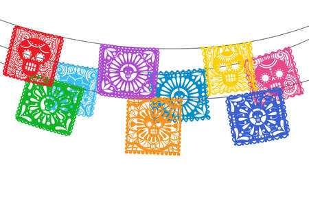 Papel picado. Is mexican day of the death cuting paper flags for street garland buntings, bunting ornamental lines Vettoriali