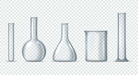 Laboratory glass equipment. Chemical and biological lab beaker and cylinder test tube, flask and retort closeup, clean measuring flasks and scientific beakers vector illustration