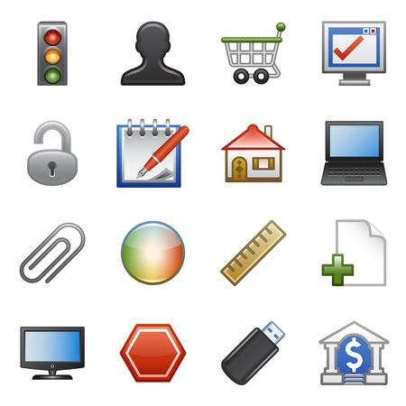 bank cart: Stylized icons set