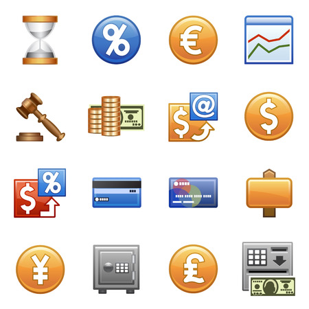 expenses: Stylized icons set