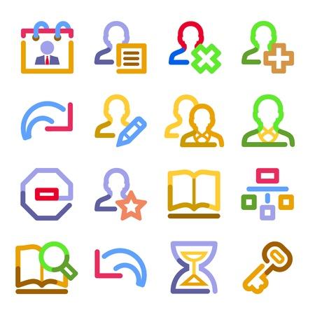 preferences: Users web icons. Color contour series. Illustration