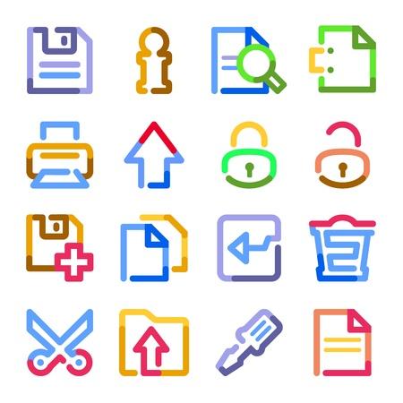 unlocked: Document web icons. Color contour series. Illustration