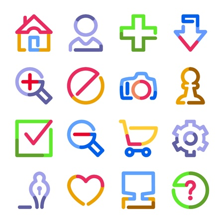 Basic web icons. Color contour series. Vector