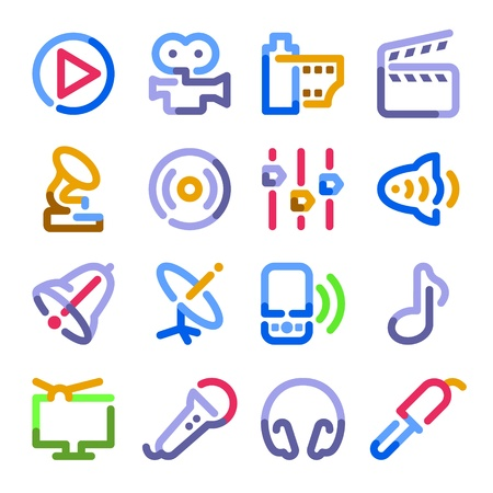 play music: Audio video icons. Color contour series.