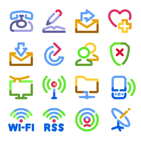 using voice: Communication icons. Color contour series. Illustration