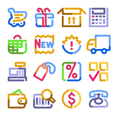 Shopping icons. Color contour series. Illustration