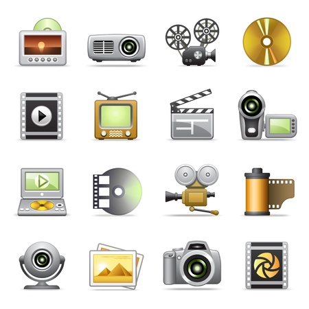 dvd player: Photo & video icons Illustration