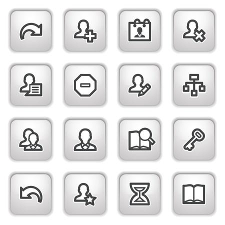 Utilisateurs web icônes sur les boutons gris.