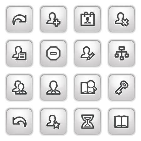 ajouter: Utilisateurs web icônes sur les boutons gris. Illustration
