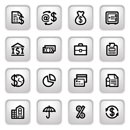 e cash: Finance icons on gray buttons.