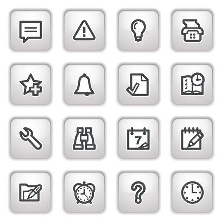 Organizer web icons on gray buttons. Vector