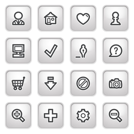 internet user: Basic web icons on gray buttons.