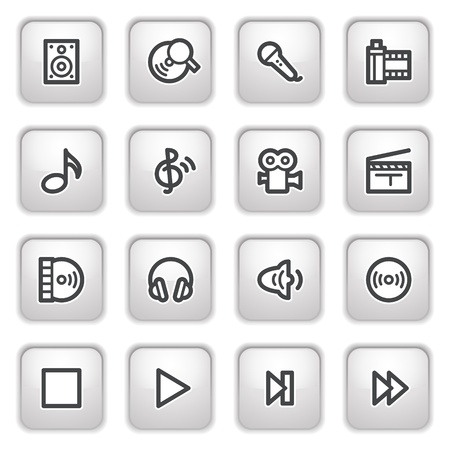 Audio video web icons on gray buttons. Vector