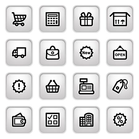 bolsa de regalo: Iconos de botones gris de compras. Vectores