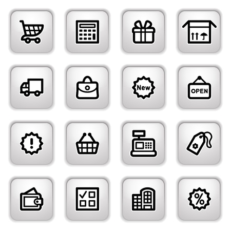 Shopping icons on gray buttons. Vector