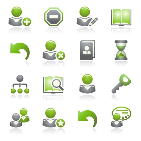 preferences: Users web icons.Gray and green series.