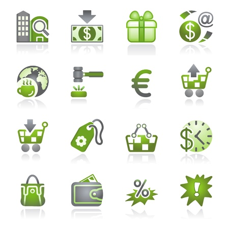 money order: Commerce icons. Gray and green series.