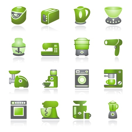 drier: Medicine web icons. Gray and green series.