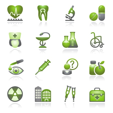 Medicine web icons, set 2. Gray and green series. Vector