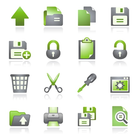 copy: Document web icons, set 1. Gray and green series.