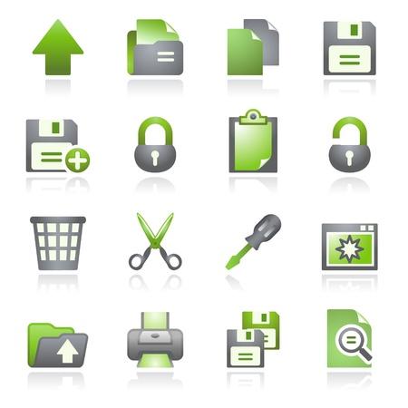 Web pictogrammen van het document, set 1. Grijs en groen serie.
