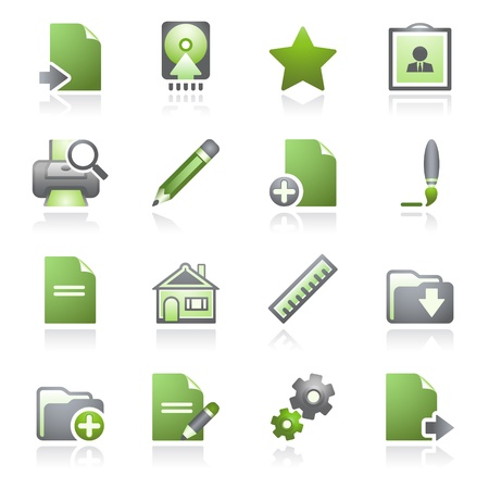 Document web icons, set 2. Gray and green series. Stock Vector - 9356339