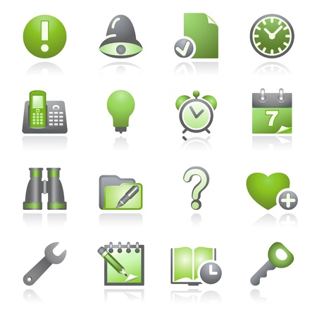 configure: Organizer web icons. Gray and green series.