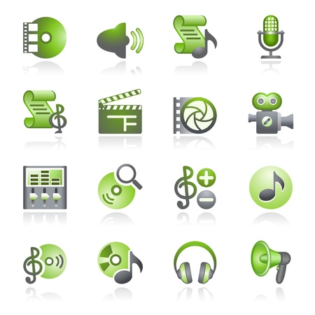headphones icon: Audio video web icons. Gray and green series. Illustration