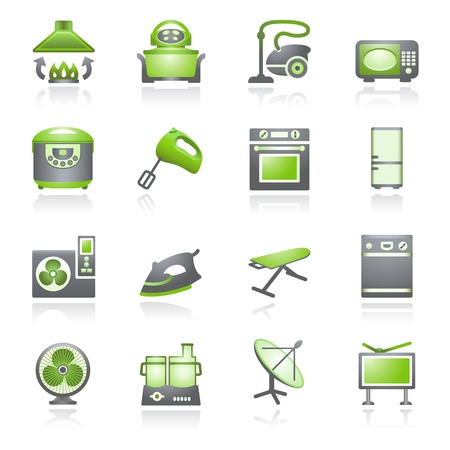 e commerce icon: Home appliances, set 2. Gray and green series.