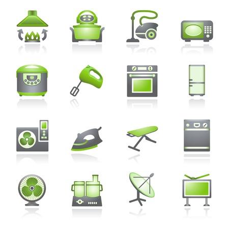 dish washing: Home appliances, set di 2. Serie verde e grigio.