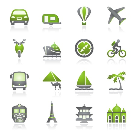 Travel icons for web.  Gray and green series. Vector