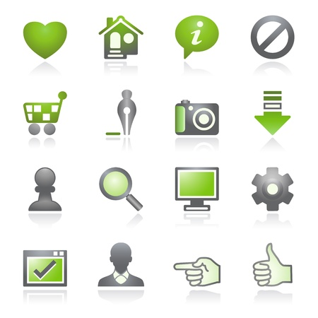 Basic web icons.   Gray and green series. Vector