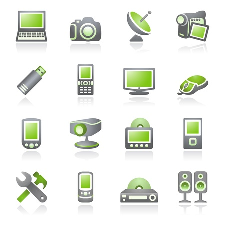 Electronics icons for web.  Gray and green series. Stock Vector - 9356338