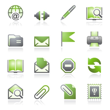 editing: E-mail web icons. Gray and green series.