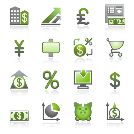bank cart: Finance web icons. Gray and green series. Illustration