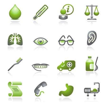 Icônes web de médecine. Série de gris et de vert.