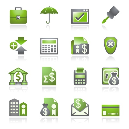 credit report: Banking web icons. Gray and green series.