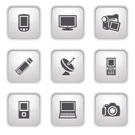 Gray button for internet 16 Stock Vector - 9393532