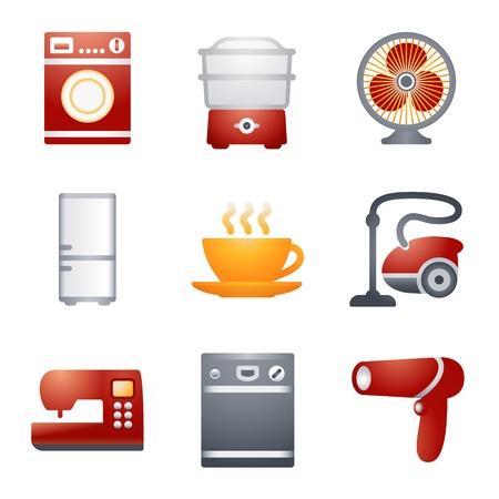 cocina limpieza: Iconos de color para el sitio Web de 18 Vectores
