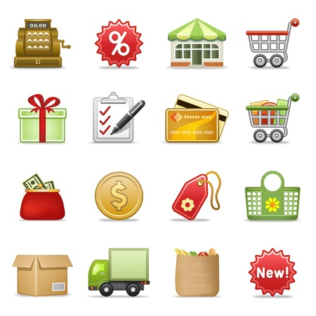 webpage: Shopping icons. Illustration