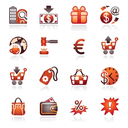 Commerce icons. Black and red series. Stock Vector - 10318072