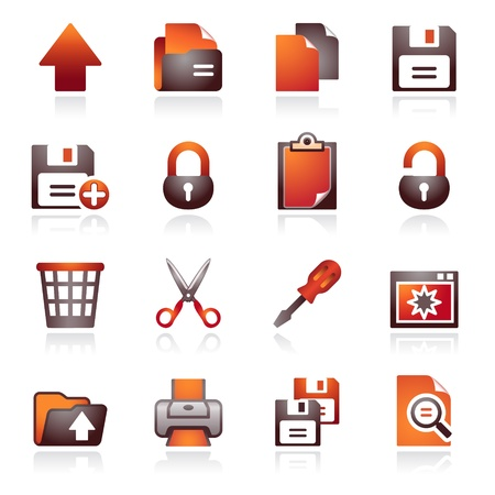 Document web icons, set 1. Black and red series.