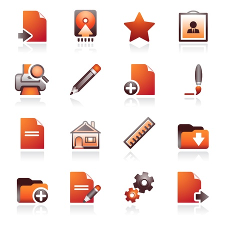 Document web icons, set 2. Black and red series. Vector