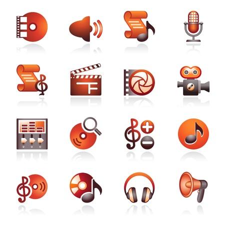 Audio video web icons. Black and red series. Illustration