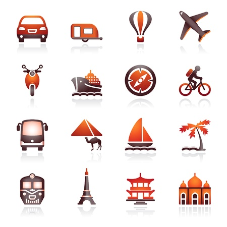 Travel icons for web.  Black and red series.