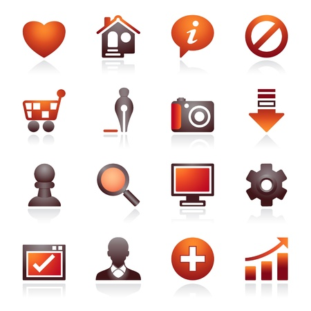 Basic web icons. Black and red series. Vector