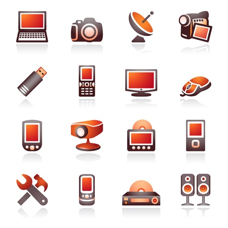 Electronics icons for web. Black and red series. Vector